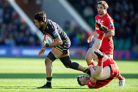 Lewis Ludlam of Northampton Saints is tackled by Dom Morris of Saracens. Premiership Rugby Cup Final, between Northampton Saints and Saracens on March 17, 2019 at Franklin's Gardens in Northampton, England. Photo by: Patrick Khachfe / JMP