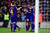 "7th January 2018, Camp Nou, Barcelona, Spain; La Liga football, Barcelona versus Levante; José Paulo Bezerra ""Paulinho"" of FC Barcelona scores the goal for 3-0 at the end of the match"