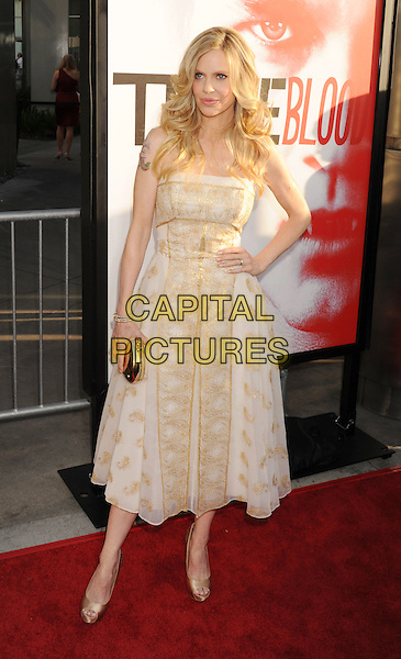 Kristin Bauer van Straten.'True Blood' Season 5 Los Angeles Premiere at ArcLight Cinemas Cinerama Dome, Hollywood, California, USA..May 30th, 2012.full length white beige print dress hand on hip strapless .CAP/ROT/TM.© TM/Roth/Capital Pictures