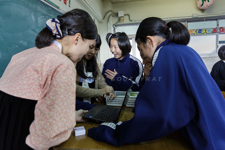 Osaka, Japan, November 25 2016 - In a classroom of East-Osaka Korean middle school (Higashi-Osaka chosen chugakko).<br /> 140 Korean schools are operated in Japan, including kindergartens and one university. The schools were initially funded by North Korea, but this money has dried up and the Japanese government has refused the Chosen Soren (General Association of Korean Residents in Japan with close ties to North Korea)&rsquo;s requests that it fund Korean schools.<br /> Professors at East-Osaka Korean middle school have not been paid for months.