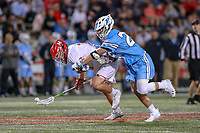 College Park, MD - April 27, 2019: Maryland Terrapins Austin Henningsen (17) gets the ground ball during the game between John Hopkins and Maryland at  Capital One Field at Maryland Stadium in College Park, MD.  (Photo by Elliott Brown/Media Images International)