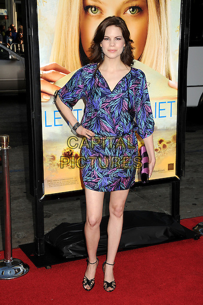 """MARIANA KLAVENO .Attending """"Letters To Juliet"""" Los Angeles Premiere held at Grauman's Chinese Theatre, Hollywood, California , USA, .11th May 2010..arrivals full length blue print dress hand on hip pink purple .CAP/ADM/BP.©Byron Purvis/AdMedia/Capital Pictures."""