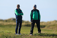 Niall and Michael (GUI) watching the action on the 15th green during Round 1 Singles of the Men's Home Internationals 2018 at Conwy Golf Club, Conwy, Wales on Wednesday 12th September 2018.<br /> Picture: Thos Caffrey / Golffile<br /> <br /> All photo usage must carry mandatory copyright credit (© Golffile | Thos Caffrey)