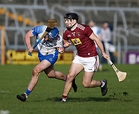 2nd February 2020; TEG Cusack Park, Mullingar, Westmeath, Ireland; Allianz Division 1 Hurling, Westmeath versus Waterford; Patrick Curran (Waterford) holds on to the ball under pressure from Aonghus Clarke (Westmeath)