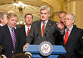 United States Senator Bill Cassidy (Republican of Louisiana) speaks to reporters outside the US Senate Chamber following the Republican weekly luncheon caucus in the US Capitol in Washington, DC on Tuesday, September 19, 2017.  The GOP leadership is advocating for the passage of the Graham-Cassidy Act that would replace parts of the Affordable Care Act (also known as ObamaCare) with block grants for the individual states.  From left to right: US Senator Lindsey Graham (Republican of South Carolina), US Senator John Barrasso (Republican of Wyoming). Senator Cassidy, US Senator John Thune (Republican of South Dakota), and US Senate Majority Leader Mitch McConnell (Republican of Kentucky).<br /> Credit: Ron Sachs / CNP