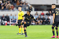 LOS ANGELES, CA - MARCH 08: Carlos Vela #10 of LAFC scores against Philadelphia Union during a game between Philadelphia Union and Los Angeles FC at Banc of California Stadium on March 08, 2020 in Los Angeles, California.