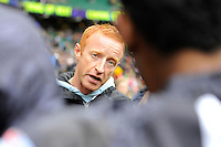 Ben Ryan, Fiji Head Coach, gives a team talk during Day Two of the iRB Marriott London Sevens at Twickenham on Sunday 11th May 2014 (Photo by Rob Munro)