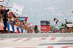 Christopher Froome (GBR) Team Sky climbs Alto de Puig Lloren&ccedil;a to win Stage 9 of the 2017 La Vuelta, running 174km from Orihuela Ciudad del Poeta Miguel Hernandez to Cumbre del Sol, El Poble Nou de Benitatxell, Spain. 27th August 2017.<br /> Picture: Unipublic/&copy;photogomezsport | Cyclefile<br /> <br /> <br /> All photos usage must carry mandatory copyright credit (&copy; Cyclefile | Unipublic/&copy;photogomezsport)