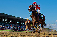 STANTON, DE - JULY 15: Songbird #5, ridden by Mike Smith, outkicks Martini Glass #2, ridden by Jose Ferrer , to win the Delaware Handicap on Delaware Handicap Day on July 8, 2017 at Delaware Park Race Track in Stanton, Delaware. (Photo by Scott Serio/Eclipse Sportswire/Getty Images)