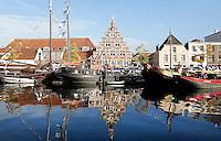 Nederland Leiden 2015 10 03 . Binnenstad van Leiden. Het Galgewater.In het midden de oude Stadstimmerwerf. Foto Berlinda van Dam / Hollandse Hoogte