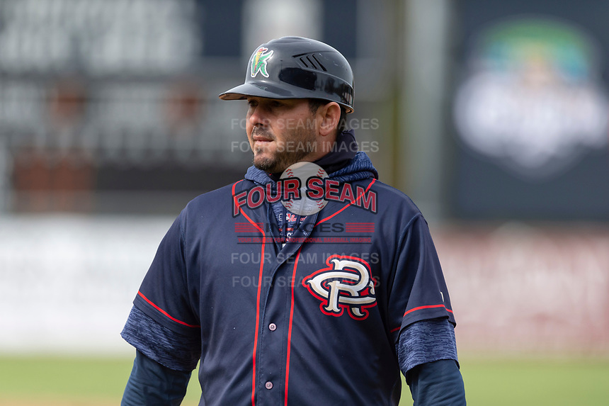 Cedar Rapids Kernels coach Luis Antonio Rodriguez (22) during a Midwest League game against the Kane County Cougars at Northwestern Medicine Field on April 28, 2019 in Geneva, Illinois. Kane County defeated Cedar Rapids 3-2 in game one of a doubleheader. (Zachary Lucy/Four Seam Images)