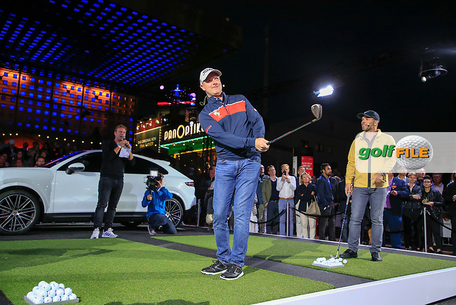 Richard McEvoy (ENG) and Paul Casey (ENG) at the Porsche Urban Golf Challenge in the Reeperbahn the famous Red light district in Hamburg ahead of the Porsche European Open at Green Eagles Golf Club, Luhdorf, Winsen, Germany. 03/09/2019.<br /> Picture Fran Caffrey / Golffile.ie<br /> <br /> All photo usage must carry mandatory copyright credit (© Golffile   Fran Caffrey)