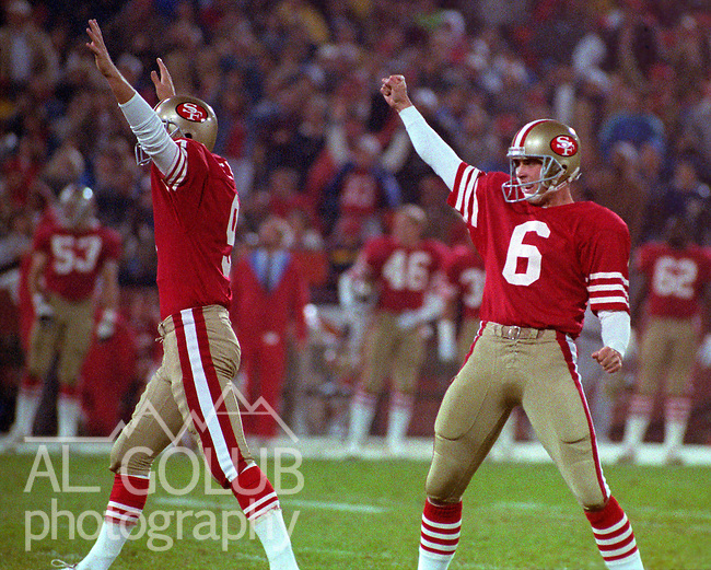 San Francisco 49ers vs Washington Redskins at Candlestick Park Monday, November 21, 1988..49ers beat Redskins 37-21.San Francisco 49ers Punter Barry Helton and Kicker Mike Cofer celebrate field goal. ..