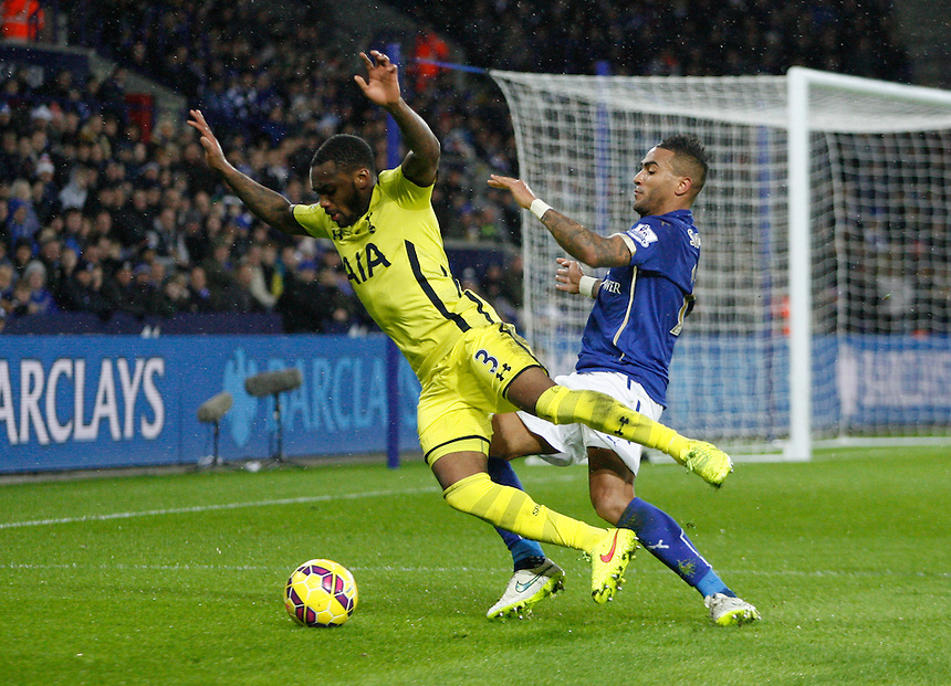 Tottenham Hotspur's Danny Rose (L) and Leicester City's Danny Simpson in action during todays match  <br /> <br /> Photographer Jack Phillips/CameraSport<br /> <br /> Football - Barclays Premiership - Leicester City v Tottenham Hotspur - Friday 26th December 2014 - King Power Stadium - Leicester<br /> <br /> &copy; CameraSport - 43 Linden Ave. Countesthorpe. Leicester. England. LE8 5PG - Tel: +44 (0) 116 277 4147 - admin@camerasport.com - www.camerasport.com