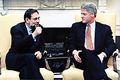 United States President Bill Clinton meets with NATO Secretary General Javier Solana in the Oval Office of the White House in Washington, DC on February 20, 1996.<br /> Mandatory Credit:  Sharon Farmer / White House via CNP
