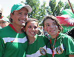 11 June 2006: Mexico soccer legend Luis Hernandez (l) poses with two young fans outside the stadium. Mexico played Iran at the Frankenstadion in Nuremberg, Germany in match 7, a Group D first round game, of the 2006 FIFA World Cup.