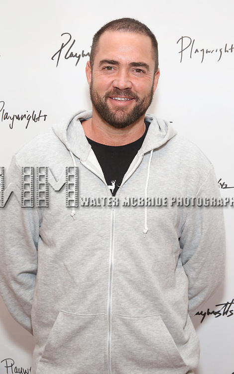 Ian Harvie attends the photo call for Playwrights Horizons world premiere production of 'Log Cabin' on May 8, 2018 at Playwrights Horizons rehearsal hall in New York City.