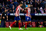 Alvaro Morata (L) and Angel Martin Correa (R) of Atletico de Madrid celebrate goal during La Liga match between Atletico de Madrid and RCD Espanyol at Wanda Metropolitano Stadium in Madrid, Spain. November 10, 2019. (ALTERPHOTOS/A. Perez Meca)