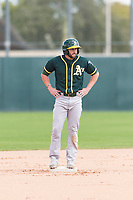 Oakland Athletics designated hitter Dustin Fowler (37) stands on second base during a rehab start in an exhibition game against Team Italy at Lew Wolff Training Complex on October 3, 2018 in Mesa, Arizona. (Zachary Lucy/Four Seam Images)
