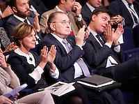 Beatrice Lorenzin, Ministro della Salute,   Giorgio Squinzi, presidente di Confindustria, e Marco Gay ,presidente giovani Confindustia interviene durante il XXIX convegno di Capri per Napoli   dei  Giovani Industriali a Citta della Scienza , 25 Ottobre 2014