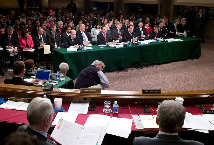 WASHINGTON, DC - April 03: Federal Reserve Board Chairman Ben S. Bernanke, Securities and Exchange Commission Chairman Christopher Cox, Treasury Undersecretary Robert Steele, and Federal Reserve Bank of New York President Timothy F. Geithner testify during the Senate Banking hearing on Bear Stearns and recent turmoil in the financial markets and efforts to address it. The Fed in March engineered the acquisition of Bear Stearns by J.P. Morgan Chase & Co. at a bargain price of roughly $2 a share -- and averted a rapid unraveling of Bear's financial commitments to other major banks. (Photo by Scott J. Ferrell/Congressional Quarterly)