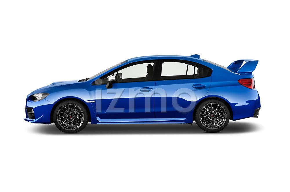 Car driver side profile view of a 2017 Subaru WRX STI Sport Premium 4 Door Sedan