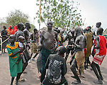 Dinka men in Southern Sudan.