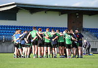 5th October 2013; Lucan Sarsfields gather for a team talk  before the game. Dublin Senior Football Championship, St Peregrines v Lucan Sarsfields, Blakestown, Dublin. Picture credit: Tommy Grealy / Actionshots.ie