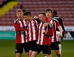 Jordan Hallam celebrates scoring the first goal from the penalty spot during the U18 Professional Development League 2 play off semi final match at  Bramall Lane, Sheffield. Picture date: April 21st 2017. Pic credit should read: Simon Bellis/Sportimage