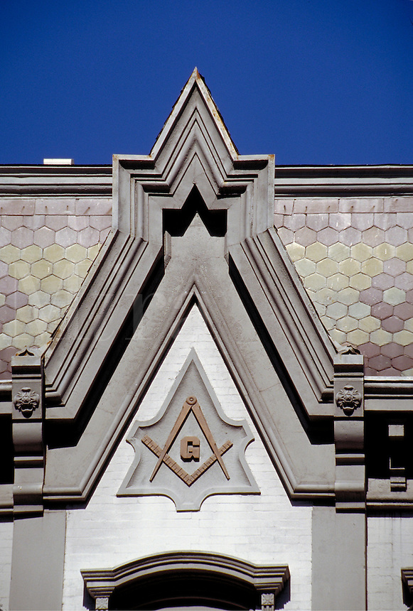 Architectural details, including a Masonic emblem, of a restored 19th-century building in the Main Street business district of Madison, Indiana. Madison Indiana.