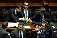 Ministers congratulate Giuseppe Conte after his speech<br /> Rome September 9th 2019. Lower Chamber. Programmatic speech of the new appointed Italian Premier at the Chamber of Deputies to explain the program of the yellow-red executive. After his speech the Chamber is called to the trust vote at the new Government. <br /> Foto  Samantha Zucchi Insidefoto