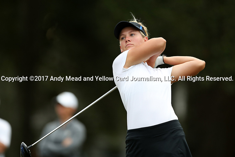 WILMINGTON, NC - OCTOBER 28: Kentucky's Claire Carlin on the 10th tee. The second round of the Landfall Tradition Women's Golf Tournament was held on October 28, 2017 at the Pete Dye Course at the Country Club of Landfall in Wilmington, NC.
