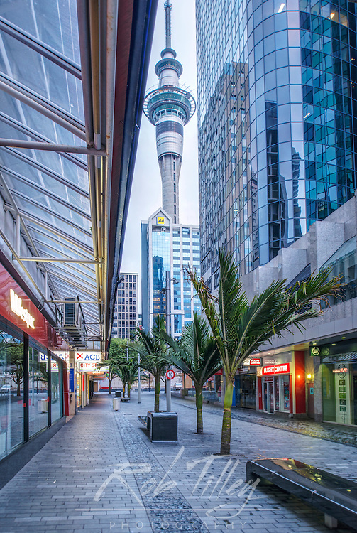NZ, North Island, Auckland, Sky City & Downtown Buildings