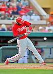 9 March 2012: Philadelphia Phillies outfielder John Mayberry Jr. in action during a Spring Training game against the Detroit Tigers at Joker Marchant Stadium in Lakeland, Florida. The Phillies defeated the Tigers 7-5 in Grapefruit League action. Mandatory Credit: Ed Wolfstein Photo