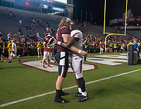 Hawgs Illustrated/BEN GOFF <br /> David Williams, an Arkansas running back who transfered from South Carolina, greets former teammate South Carolina tight end Hayden Hurst (81) after the game Saturday, Oct. 7, 2017, at Williams-Brice Stadium in Columbia, S.C.