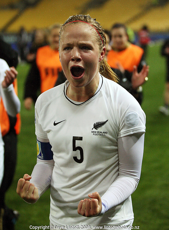 New Zealand captain Bri Fisher celebrates victory during the FIFA Women's Under-17 World Cup pool match between New Zealand and Columbia at Westpac Stadium, Wellington, New Zealand on Tuesday, 4 November 2008. Photo: Dave Lintott / lintottphoto.co.nz