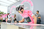 Race leader Simon Yates (GBR) Mitchelton-Scott in the Maglia Rosa at sign on before the start of Stage 8 of the 2018 Giro d'Italia, running 209km from Praia a Mare to Montevergine di Mercogliano, Italy. 12th May 2018.<br /> Picture: LaPresse/Gian Mattia D'Alberto | Cyclefile<br /> <br /> <br /> All photos usage must carry mandatory copyright credit (&copy; Cyclefile | LaPresse/Gian Mattia D'Alberto)