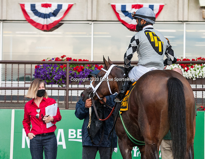 June 27, 2020: Victim of Love, ridden by Jose Lezcano, wins the G2 Vagrancy Handicap at Belmont Park in Elmont, NY. Sophie Shore/ESW/CSM