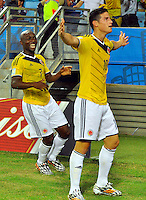 CUIABA - BRASIL -24-06-2014. James Rodriguez (#10) jugador de Colombia (COL) celebra un gol anotado a Japón (JPN) durante partido del Grupo C de la Copa Mundial de la FIFA Brasil 2014 jugado en el estadio Arena Pantanal de Cuiaba./ James Rodriguez (#10) player of Colombia (COL) celebrates a goal scored to Japan (JPN) during the macth of the Group C of the 2014 FIFA World Cup Brazil played at Arena Pantanal stadium in Cuiaba. Photo: VizzorImage / Alfredo Gutiérrez / Contribuidor