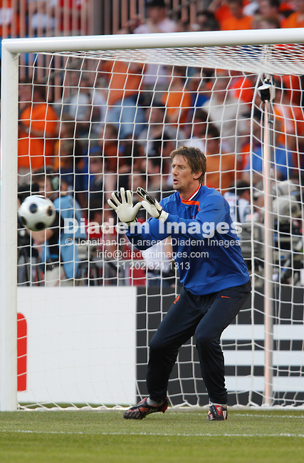BASEL, SWITZERLAND - JUNE 21:    Dutch goalkeeper Edwin van der Sar warms up prior to a UEFA Euro 2008 quarterfinal match against Russia at St. Jakob Park June 21, 2008 in Basel, Switzerland.  (Photograph by Jonathan P. Larsen)