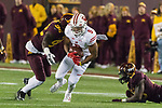 Wisconsin Badgers running back Rachid Ibrahim (9) carries the ball during an NCAA College Big Ten Conference football game against the Minnesota Golden Gophers Saturday, November 25, 2017, in Minneapolis, Minnesota. The Badgers won 31-0. (Photo by David Stluka)