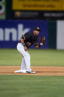 Visalia Rawhide second baseman Luis Alejandro Basabe (35) during a California League game against the Lancaster JetHawks at The Hangar on May 17, 2018 in Lancaster, California. Lancaster defeated Visalia 11-9. (Zachary Lucy/Four Seam Images)