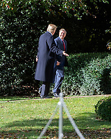 United States President Donald J. Trump and US Senator Lindsey Graham (Republican of South Carolina) are in discussion on the South Lawn of the White House in Washington, DC after their return from the Supreme Court of the US on Thursday, November 8, 2018.<br /> Credit: Ron Sachs / Pool via CNP /MediaPunch