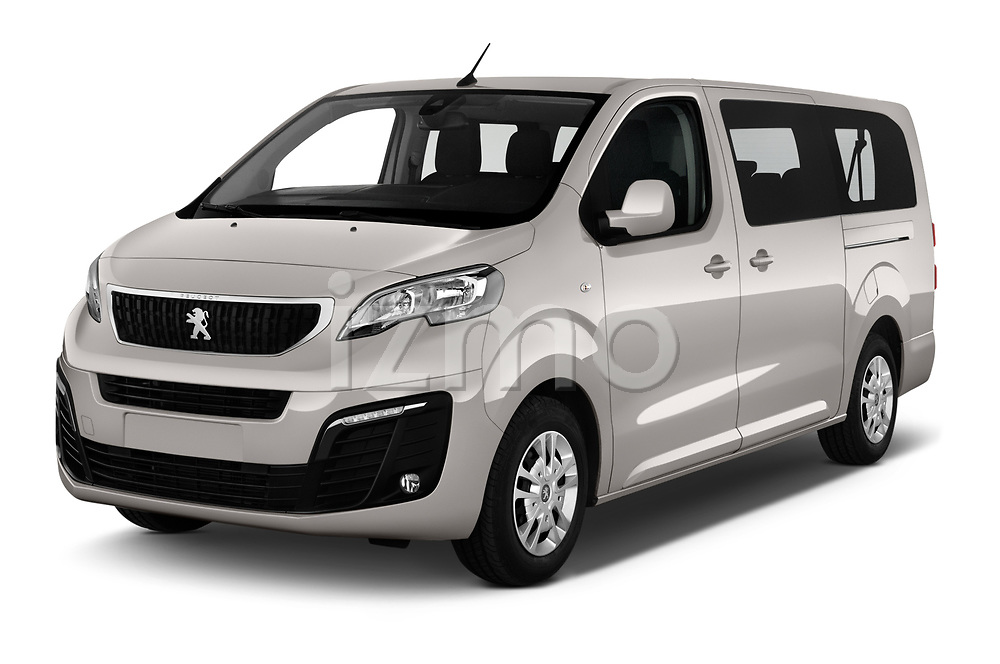 2018 Peugeot Traveller Business 4 Door Mini Van angular front stock photos of front three quarter view