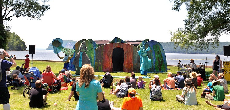 """Arm-of-the-Sea Mask and Puppet Theater troupe, performing """"The Rejuvenary River Circus,""""  near the river's edge, on the first day of the Clearwater's Great Hudson River Revival Festival 2013, held at Croton Point Park, in Croton-on-Hudson, NY, June 15, 2013. Photo by Jim Peppler. Copyright Jim Peppler 2013 all rights reserved."""