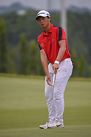 Andy ZHANG (CHN) reacts to nearly chipping in on 11 during Rd 4 of the Asia-Pacific Amateur Championship, Sentosa Golf Club, Singapore. 10/7/2018.<br /> Picture: Golffile | Ken Murray<br /> <br /> <br /> All photo usage must carry mandatory copyright credit (© Golffile | Ken Murray)