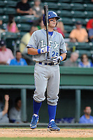 Catcher Cameron Gallagher (25) of the Lexington Legends bats in a game against the Greenville Drive on Sunday, July 21, 2013, at Fluor Field at the West End in Greenville, South Carolina. Gallagher is the No. 15 prospect of the Kansas City Royals and was a second-round pick in the 2011 First-Year Player Draft. Lexington won, 2-0. (Tom Priddy/Four Seam Images)