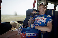 Frederik Backaert (BEL/Wanty-Groupe Gobert) relaxing in the teambus, straight after the recon<br /> <br /> 2015 Paris-Roubaix recon