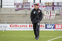Shaun Miller of Morecambe inspecting the pitch ahead of the Sky Bet League 2 match between Northampton Town and Morecambe at Sixfields Stadium, Northampton, England on 23 January 2016. Photo by David Horn / PRiME Media Images.