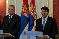 Serbian president Tomislav Nikolic visits Janos Ader